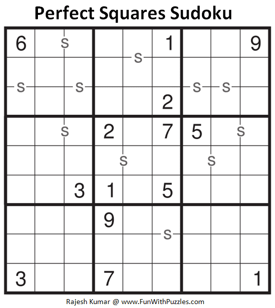 Perfect Squares Sudoku Puzzle (Fun With Sudoku #310)
