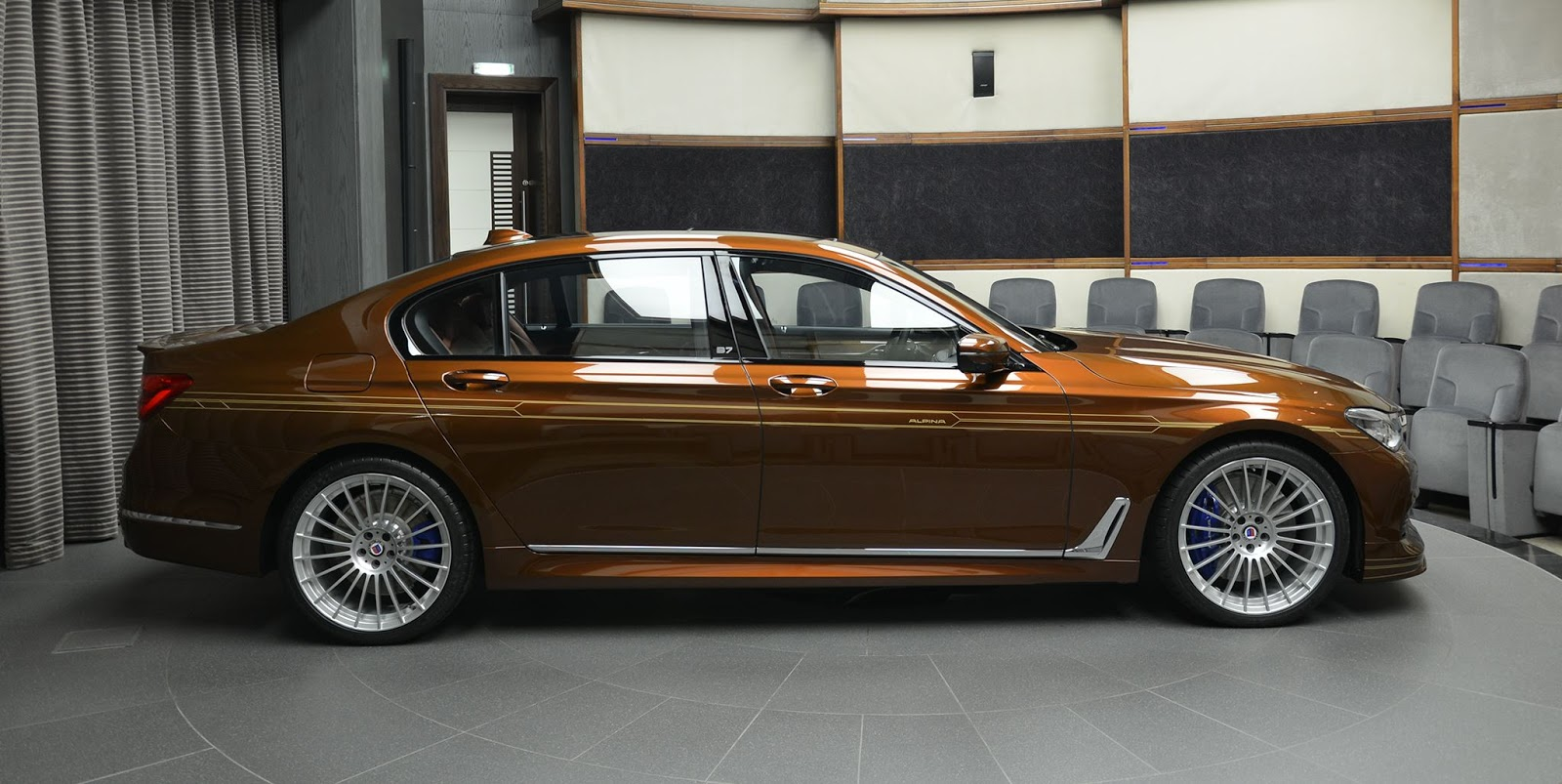 alpina b7 individual certainly looks different in chestnut brown with gold accents carscoops. Black Bedroom Furniture Sets. Home Design Ideas