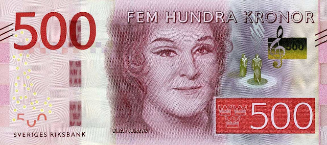 Swedish Currency 500 Krona banknote 2016 Opera singer Birgit Nilsson