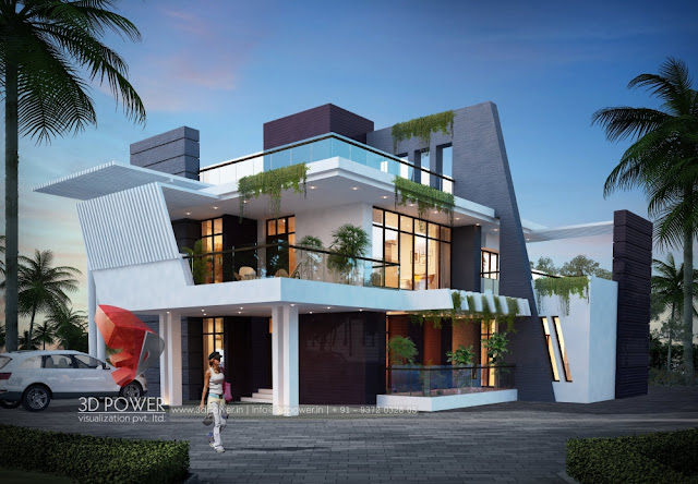 3d Exterior Rendering of bungalow