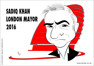 Sadiq Khan London Mayor Caricature by Ian Davy Brown