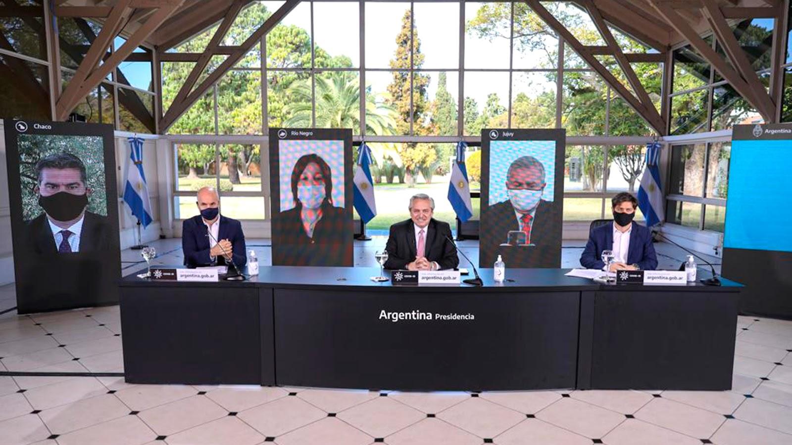 Horacio Rodriguez Larreta, Alberto Fernández, Axel Kicillof anuncio cuarentena escalonada