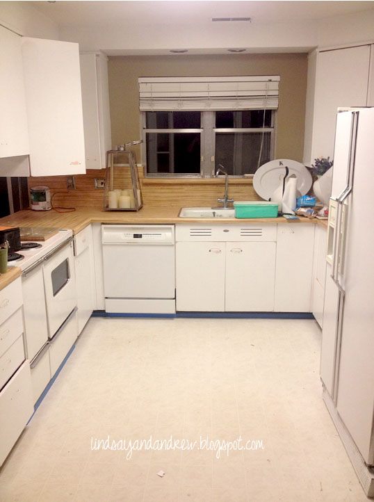 Kitchen Linoleum Glass Cabinets Lindsay Drew Painting A Floor