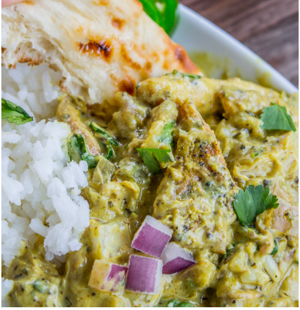Slow Cooker Basil Chicken in Coconut Curry Sauce #healthyfood