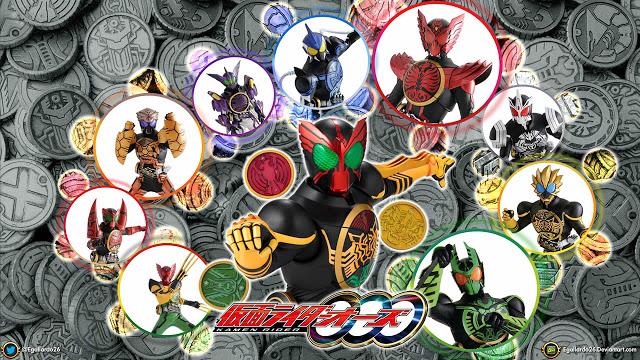 merupakan kamen rider ke-12 di era Heisei, kamen rider ini berubah menggunakan 3 medal, medal-medal bisa dikombinasikan, jadi memiliki banyak form dari medal yang bisa dikombinasikan.