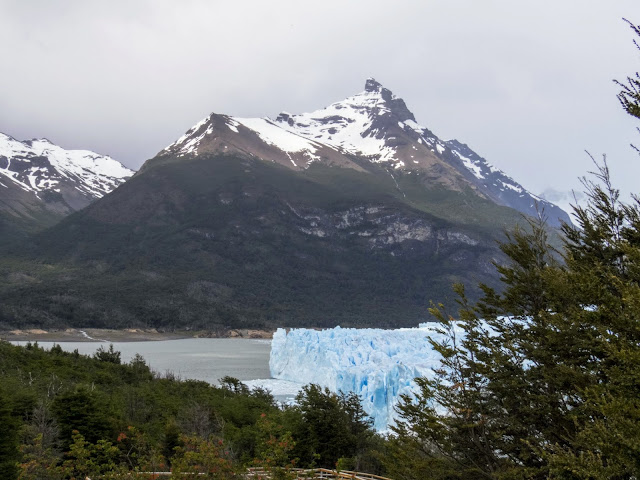 Mountains behind Perito Moreno Glacier on a stormy day near El Calafate in Argentinian Patagonia