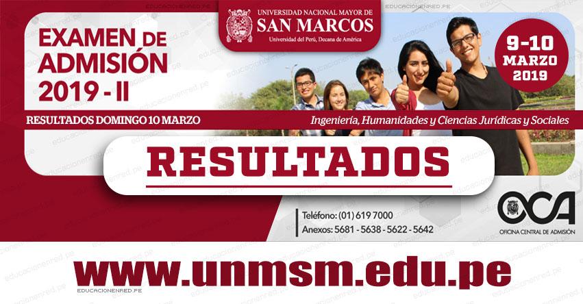 Resultados UNMSM 2019-2 (Domingo 10 Marzo) Lista de Ingresantes Examen de Admisión - Áreas Ingeniería - Humanidades - Ciencias Jurídicas y Sociales - Universidad Nacional Mayor de San Marcos - www.unmsm.edu.pe