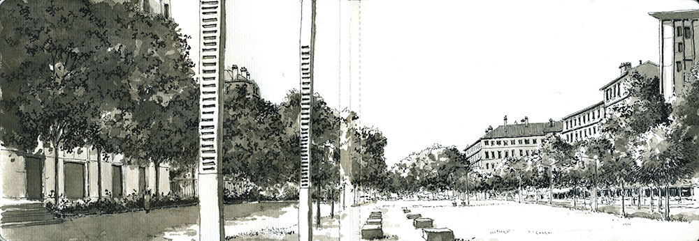 07-Panoramique-Croix-Rousse-Bruno-Mollière-Architectural-Street-Drawings-and-Sketches-www-designstack-co