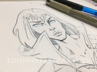 Howl of Howl's Moving Castle anime by Hayao Miyazaki drawn by Johnny Perez in ink