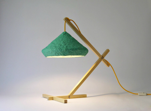 green paper mache desk lamp with wood base