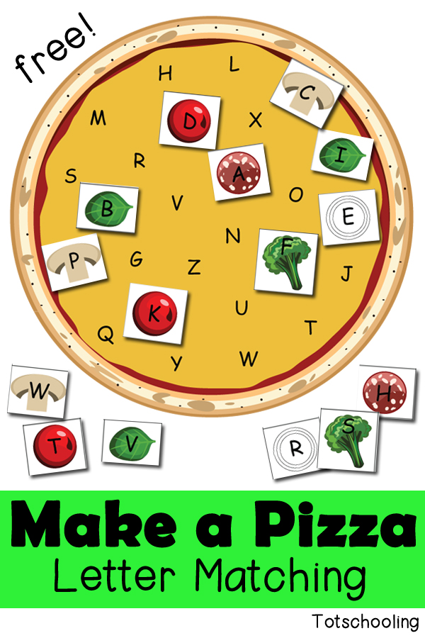 graphic regarding Letter Sound Games Printable called Produce a Pizza: Letter Matching Match Totschooling