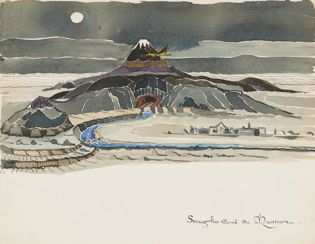 Smaug flies round the mountain. Illustration for the Hobbit by J.R.R. Tolkien