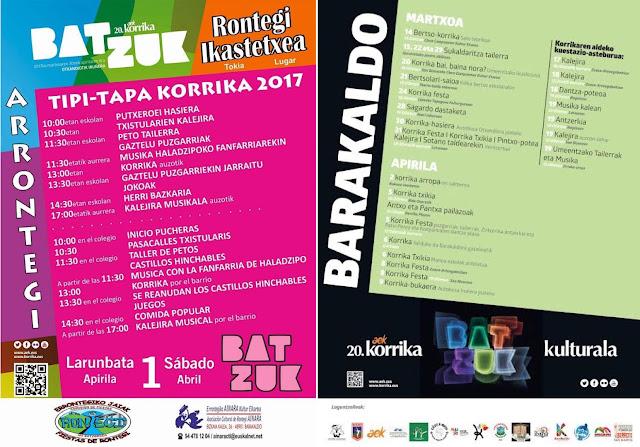 Cartel de las actividades de la Korrika en Barakaldo y en Rontegi