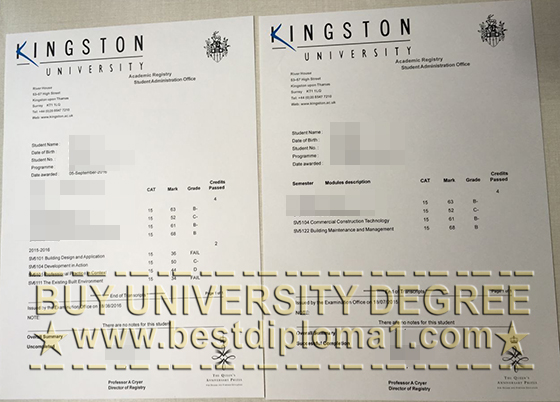 Fake Kingston University transcript