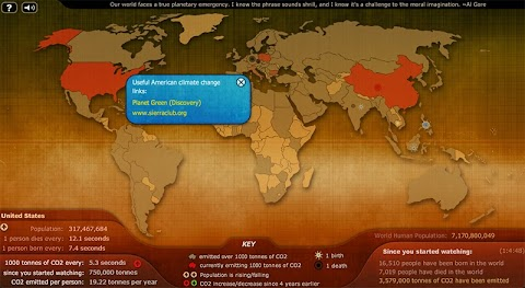 SIMULADOR EMISIONES CO2: Muestra la cantidad de contaminación que emite cada país segundo a segundo