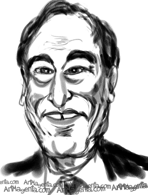 Oliver Stone caricature cartoon. Portrait drawing by caricaturist Artmagenta.