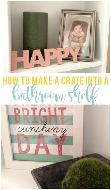 An old crate and a little chalk paint can transform into a fun and functional shelf for your bathroom!