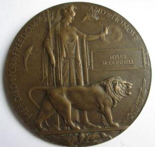 World War I medal awarded to Myles McGrane, Dublin (1899-1918)