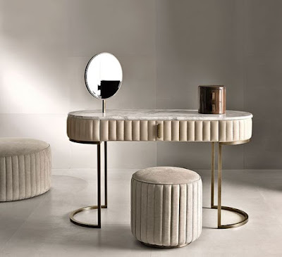 ultra modern dressing table design with upholstered surface