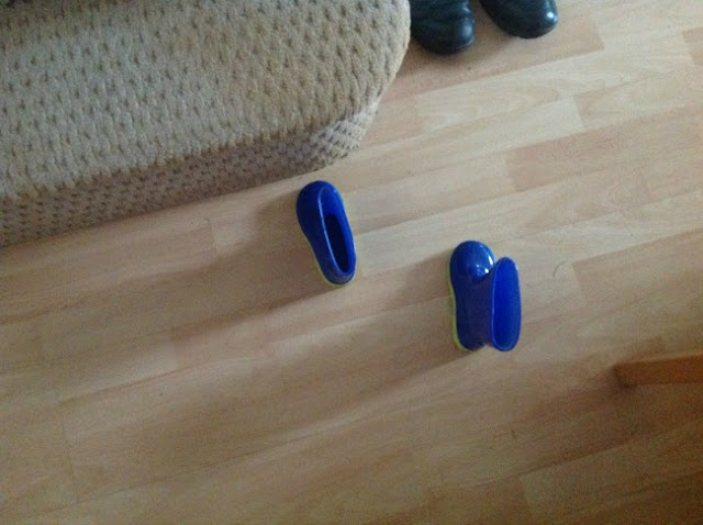a pair of blue wellies on the floor next to a step