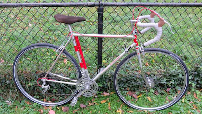 Silver and Red Bicycle with fence in background