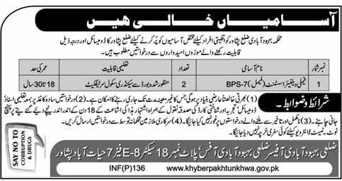 Jobs in Peshawar for Female Welfare Assistant 2019