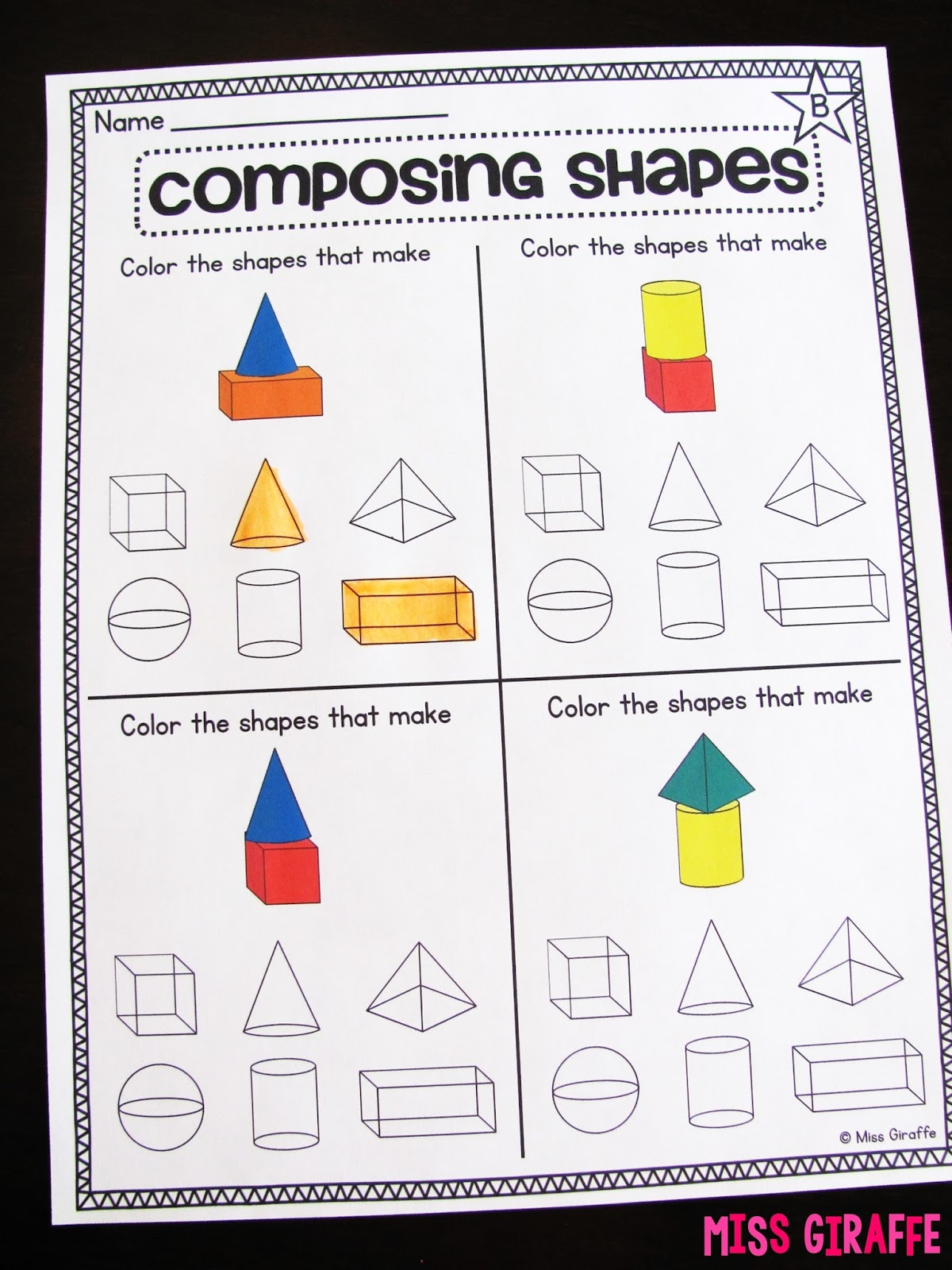 Miss Giraffes Class Composing Shapes in 1st Grade – 2 Dimensional Shapes Worksheets