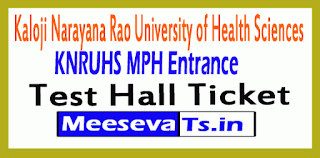 KNRUHS MPH Entrance Test Hall Ticket