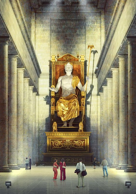 Statue of Zeus at Olympia. This statue used to sit at 42 ft tall and was crafted beautifully out of precious stones, ebony and gold.
