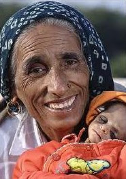 Old Indian woman with her baby