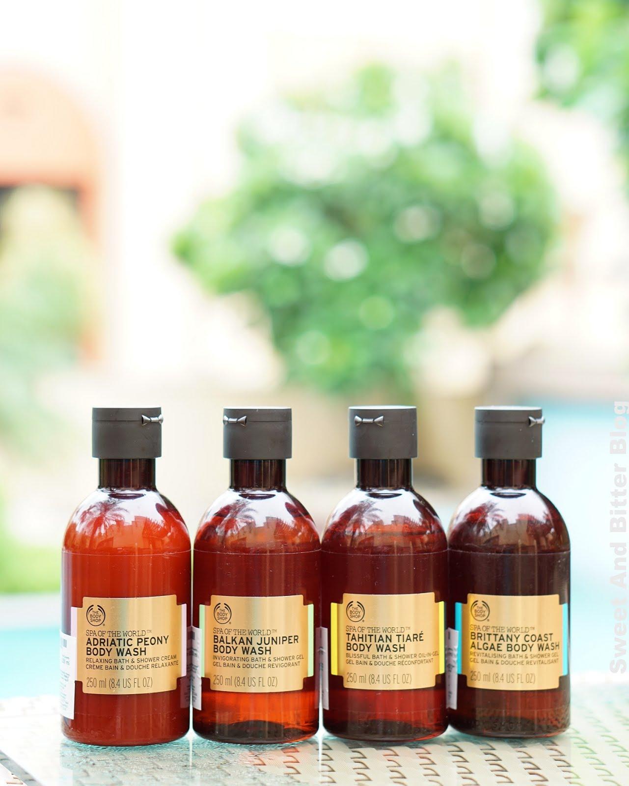 The Body Shop Spa of the World Brittany Coast Algae Bath and Shower Gel, Tahitian Tiaré Bath and Shower Oil-in-Gel, Balkan Juniper Body Wash, Adriatic Peony Bath and Shower Cream Review India