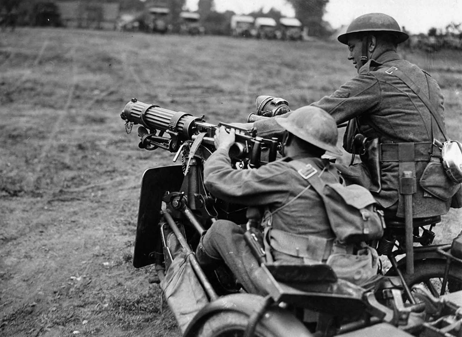 In France, a British machine-gun team. The gun, which appears to be a Vickers, is mounted on the front of a motorcycle side car.