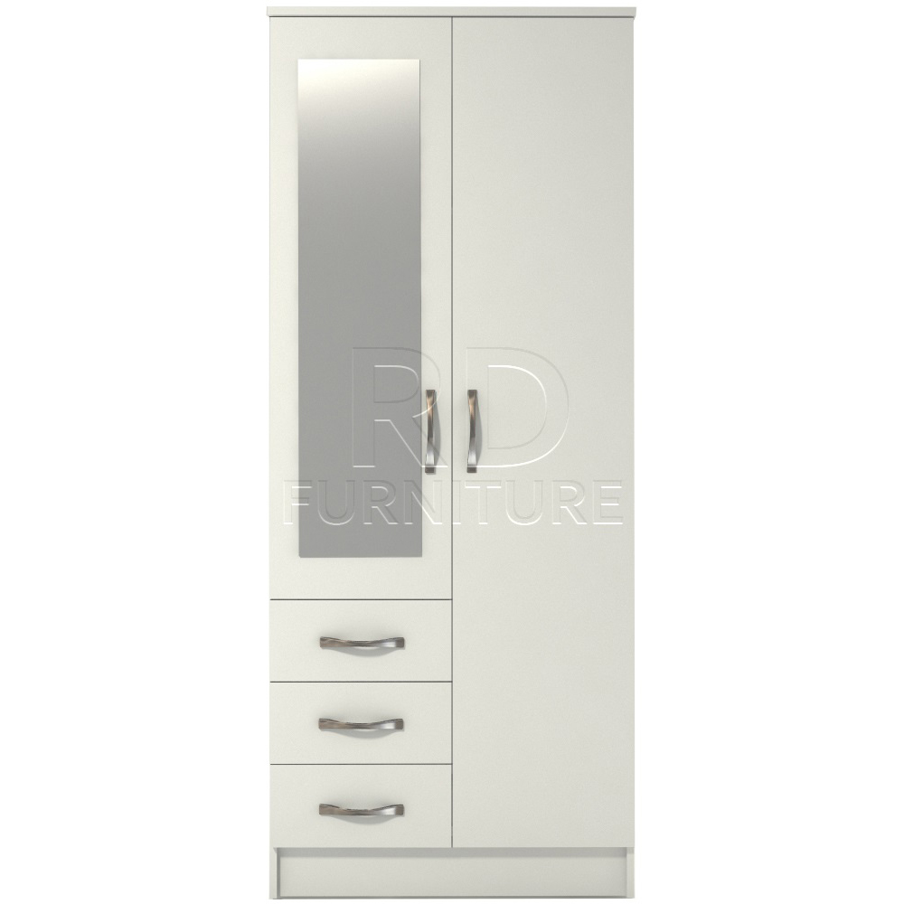 Classic 2 door 3 drawer combi short mirrored wardrobe Short wardrobe with drawers