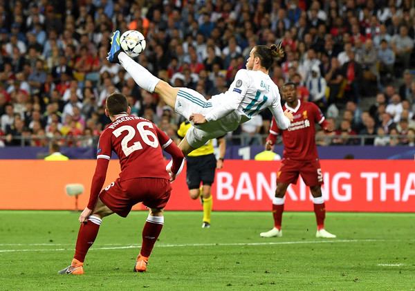 Gareth Bale scoring a magnificent bicycle kick goal in the 2017/18 UEFA Champions League final against Liverpool