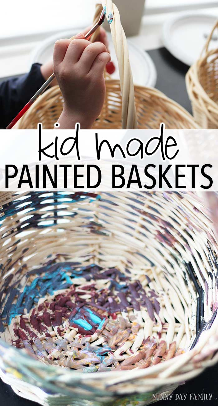 Painting baskets is a fun craft for kids that is beautiful and functional! Kids will love painting baskets as this month's Family Dinner Book Club craft, and you can use them in your home or as unique Easter baskets. Love this idea! Kids Craft | DIY Decor | Easter Baskets | Process Art