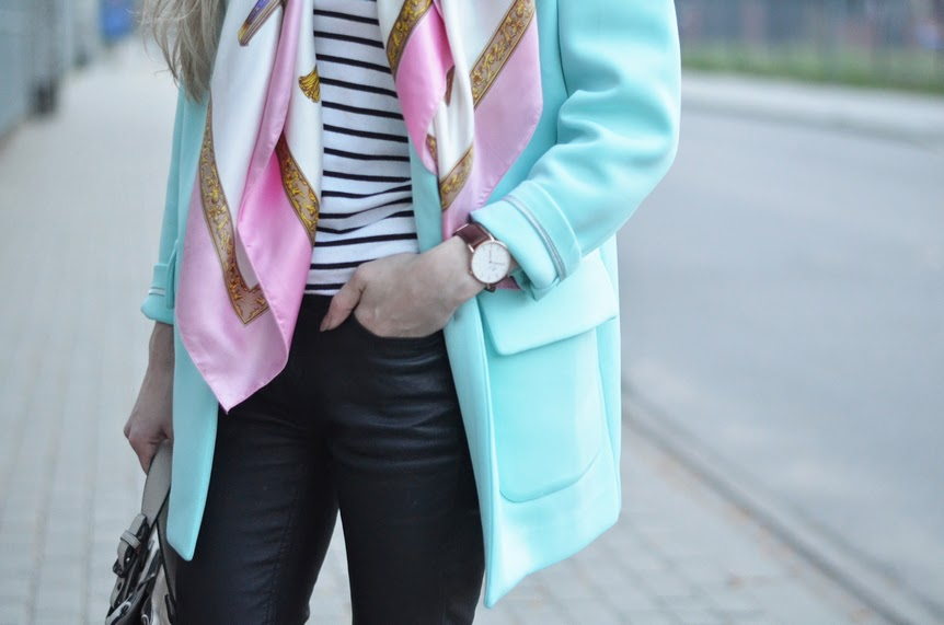 MINT NEOPRENE COAT, PINK SCARF & STRIPED BLOUSE / FRONT ROW SHOP