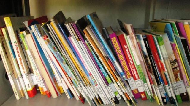 Koleksi yang ada di rak Perpustakaan Desa Kemujan
