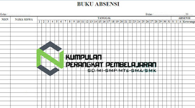 Contoh Buku Absensi Siswa PAUD Excel Terbaru