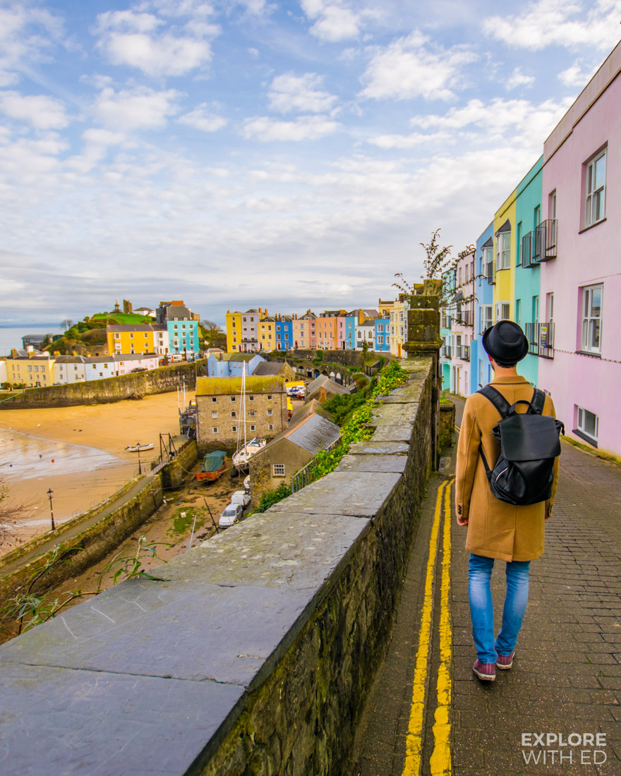 The pretty coloured houses along Tenby Harbour