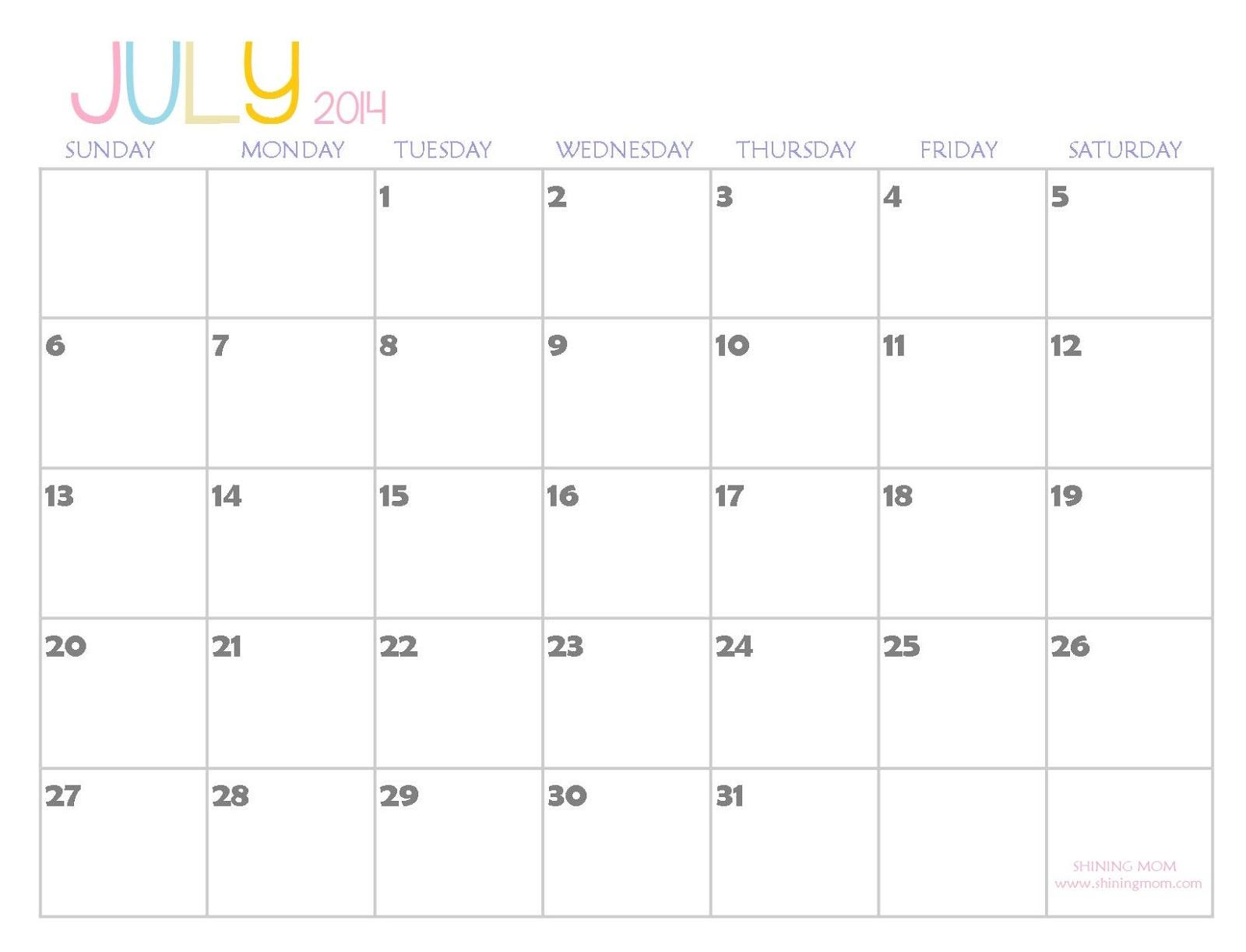 July 2014: 2014 Printable Calendars {Fresh Designs!}