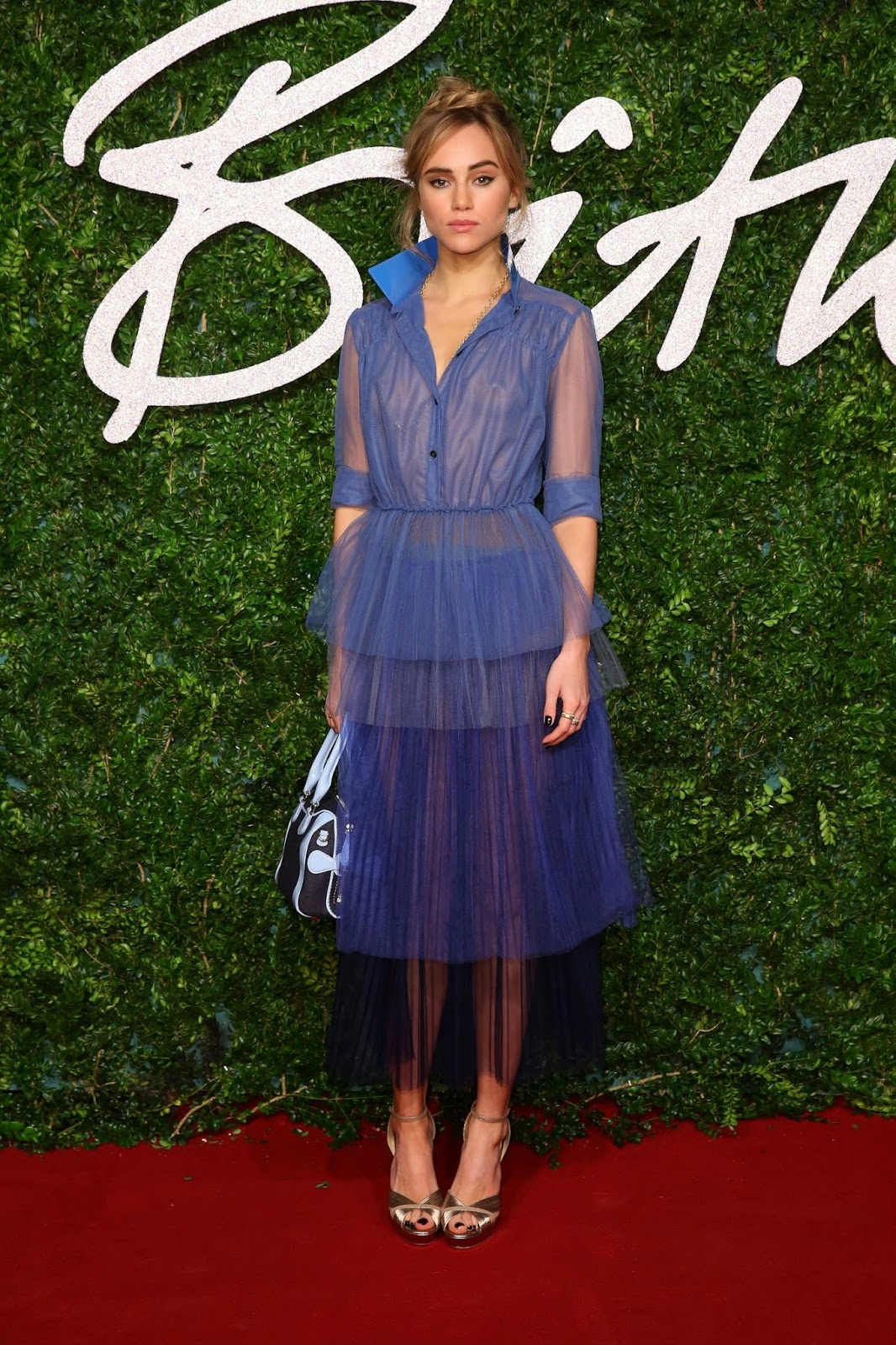 Suki Waterhouse in aqua gown at the 2014 British Fashion Awards