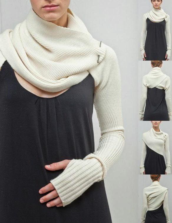 Diy sleeve shrug o bufanda con mangas
