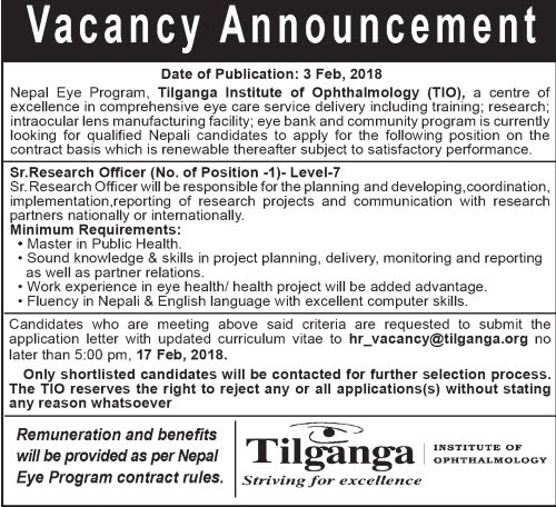 Research Officer vacancy