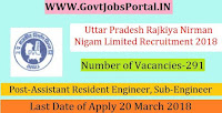Uttar Pradesh Rajkiya Nirman Nigam Limited Recruitment 2018-291 Assistant Resident Engineer, Sub-Engineer
