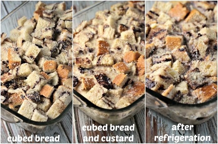 Chocolate Babka Bread Pudding | by Renee's Kitchen Adventures - Easy dessert recipe for bread pudding made with Chocolate Babka Bread full of chocolate and walnuts then drizzled with a sweet vanilla sauce #RKArecipes