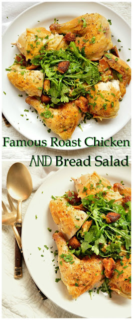 This crispy roast chicken is simple and divine. Roasted over artisan bread cubes that become crispy while baking and then tossed with salad, this one dish meal is fabulous! #chicken #roastchicken #breadsalad #recipes www.thisishowicook