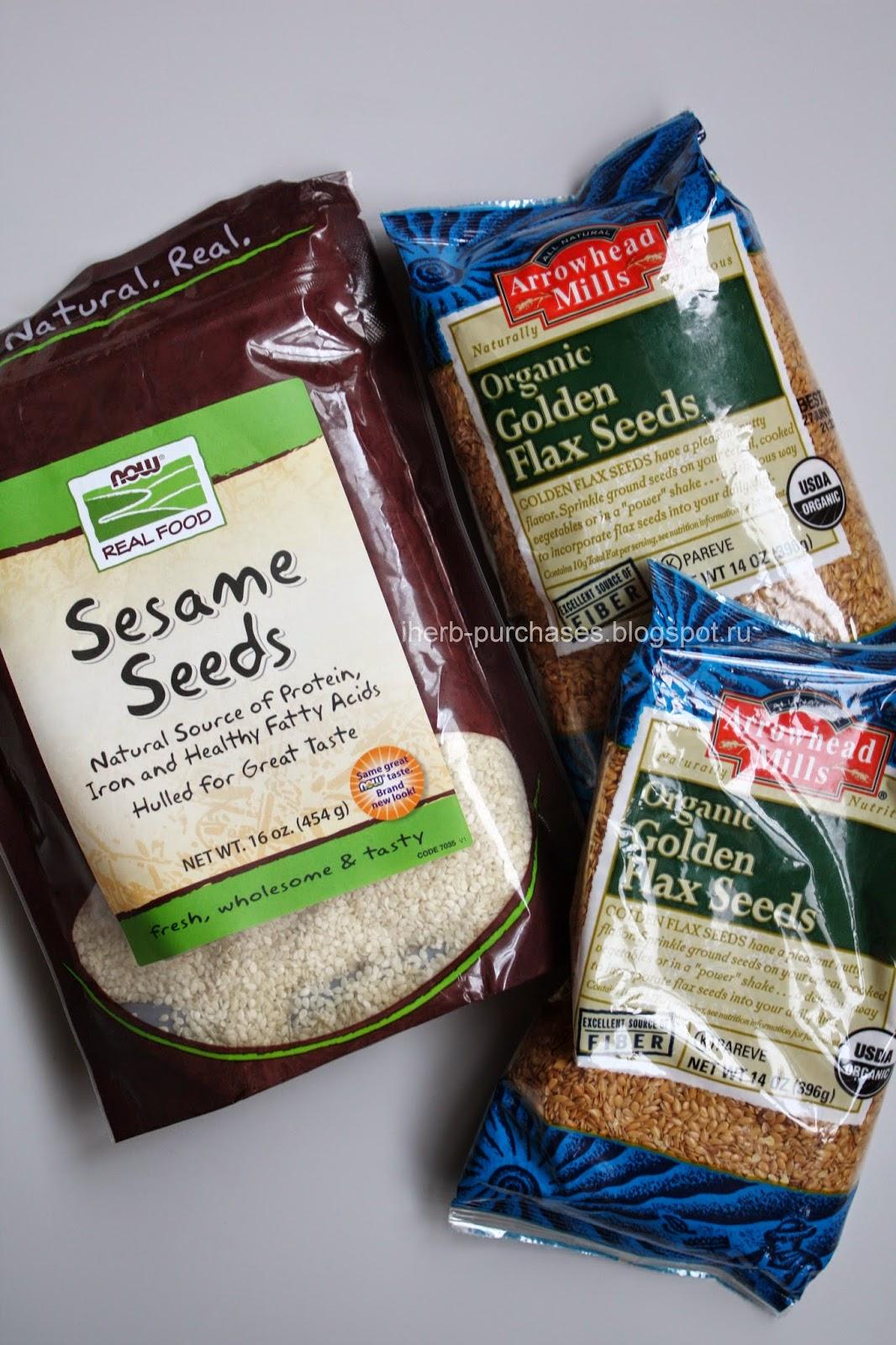 Arrowhead Mills, Organic Golden Flax Seeds, 14 oz (396 g) + Now Foods, Real Food, Sesame Seeds, 16 oz (454 g)