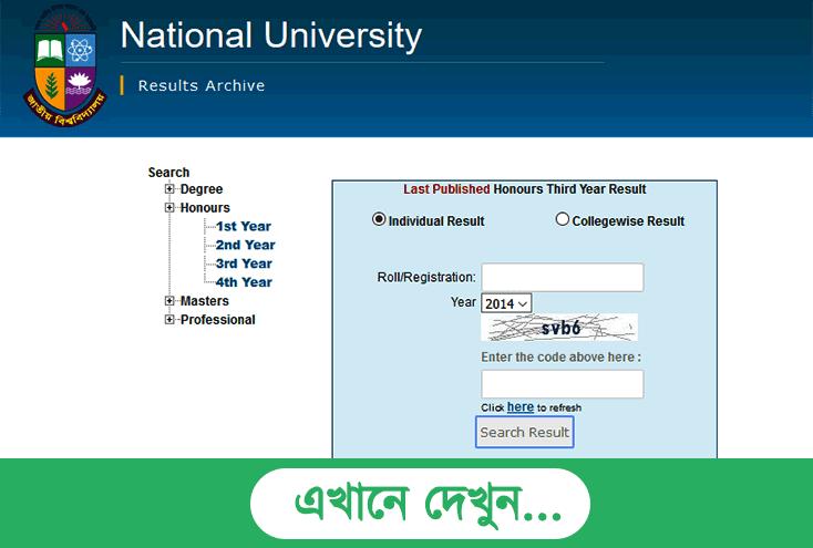 NU Honours 3rd Year Result 2016