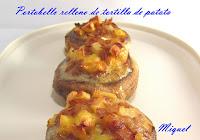 Portobello relleno de tortilla de patata y cebolla
