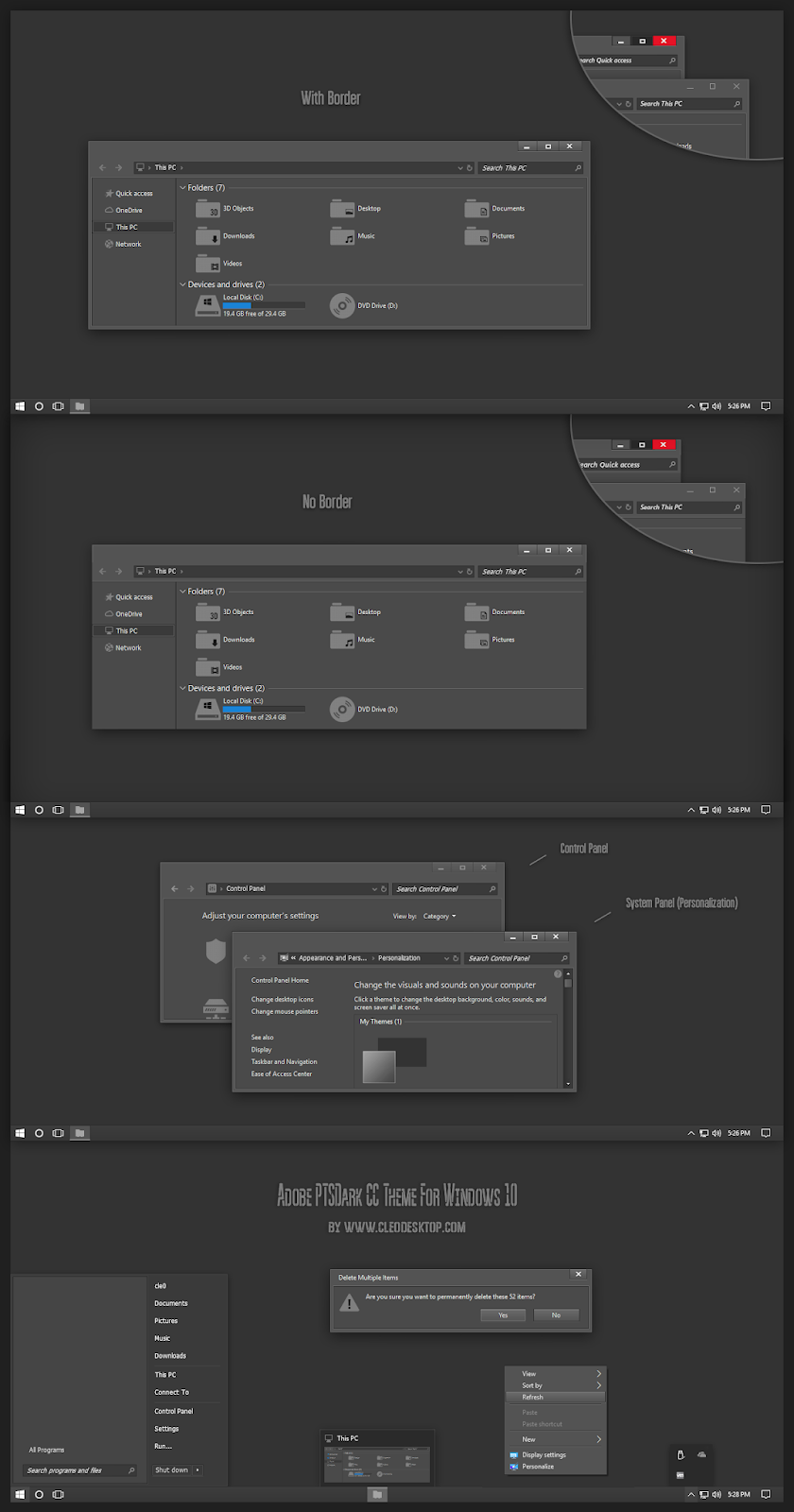 Adobe PTSDark CC Theme For Windows10 2004